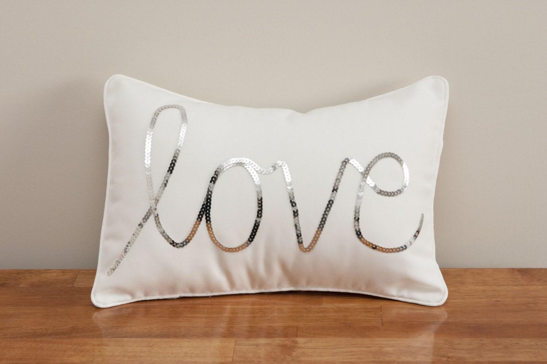 Silver Sequined Love Cushion - MaxandMeHomewares