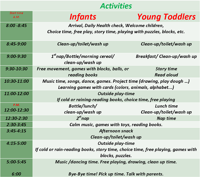 Toddler Daily Schedule For Daycare | Daily Agenda Calendar