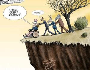 Bipartisan cliff cartoon