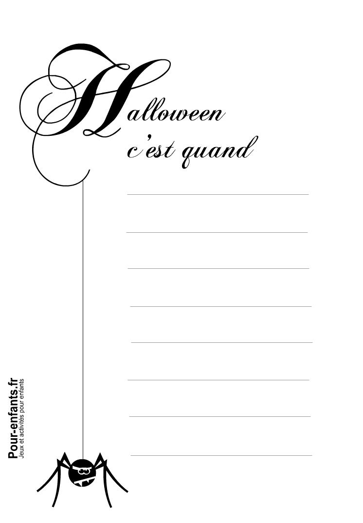 Imprimer papier à lettre Halloween c'est quand