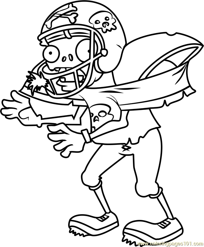 Football Zombie Coloring Page - Free Plants vs. Zombies ...