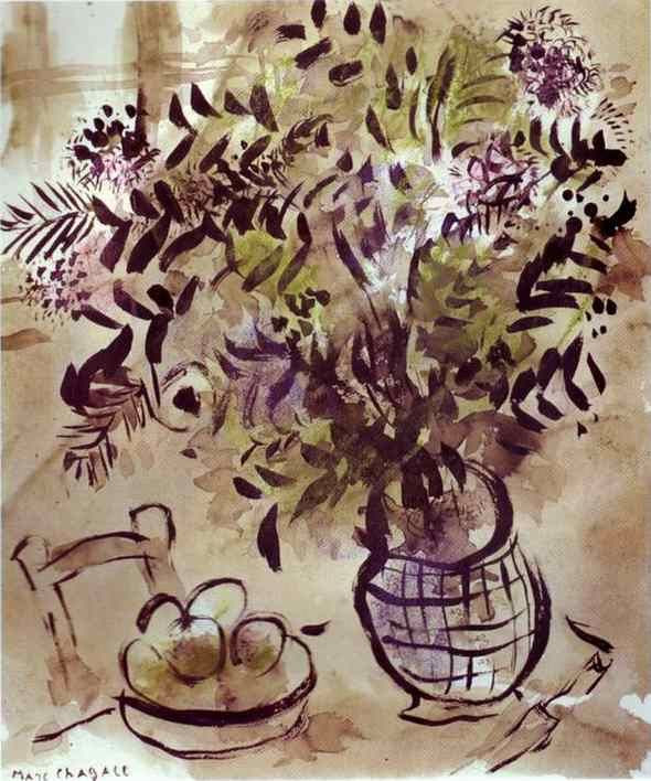 Still Life with Vase of Flowers ~ Chagall
