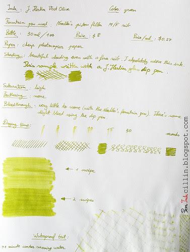J Herbin Vert Olive ink review on photocopier paper