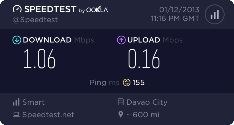 Jack's Ridge internet speed test result