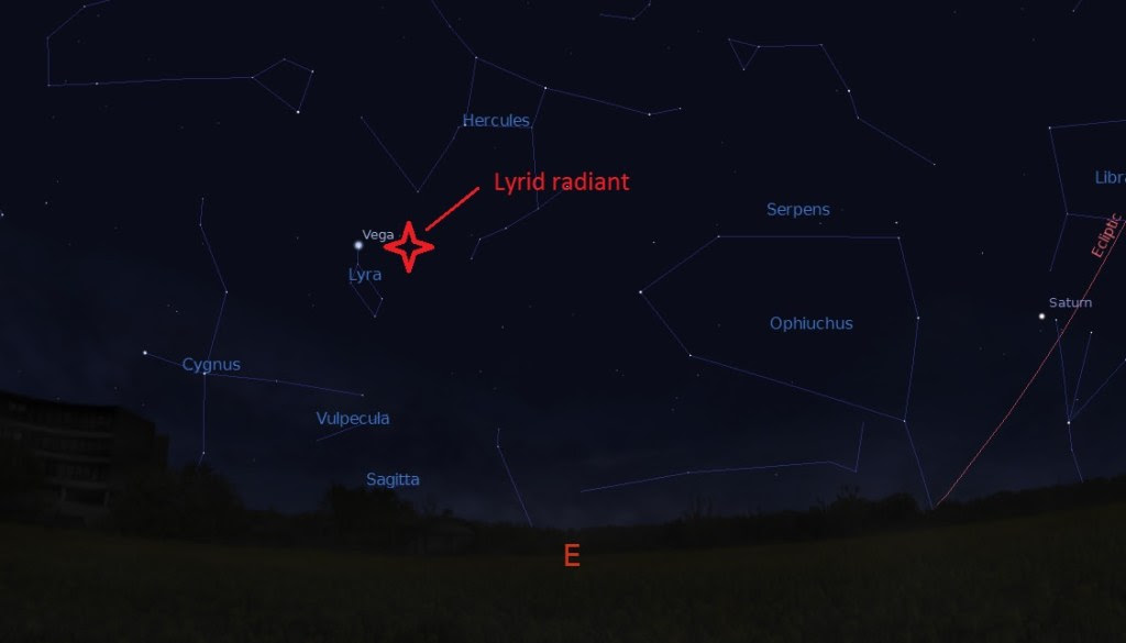The radiant for the 2015 Lyrids as seen from 40 degrees north latitude at local midnight. Credit: Stellarium.