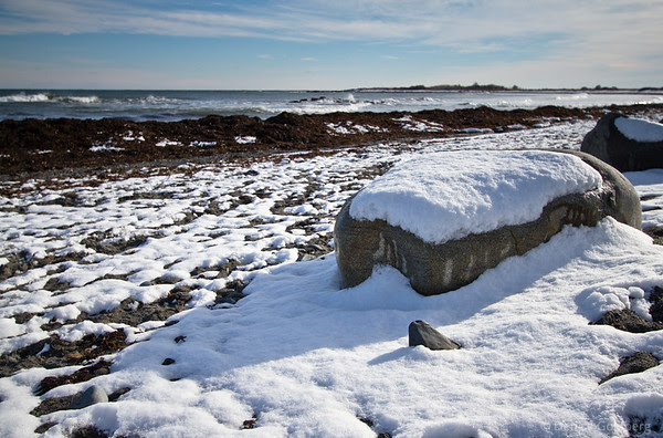 snow-covered rocks, ocean, Kittery Point, Maine