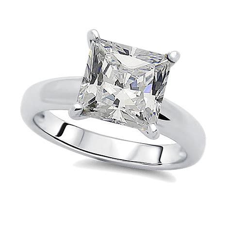 8.5mm Rhodium Plated Silver Wedding Ring Princess CZ