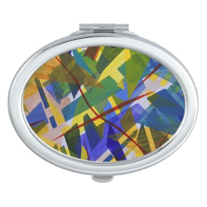 The City I, Abstract Contemporary Green Light Mirrors For Makeup