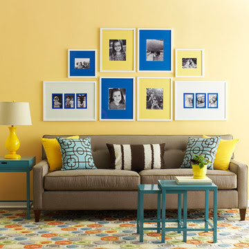 Yellow and blue gallery arrangement