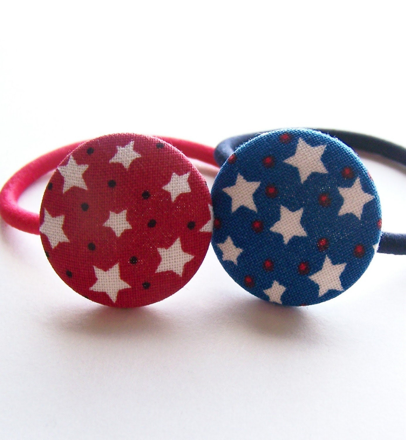 Pretty and Patriotic Fabric covered button Ponytail Holders