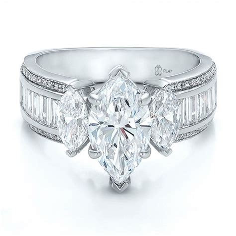Custom Three Stone Marquise and Baguette Diamond