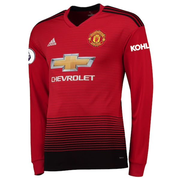 c771c59ef Mens Adidas Fred Red Manchester United 201819 Home Replica Long