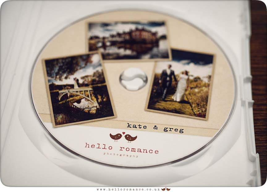 DVD Disc Packaging - Hello Romance Wedding Photography Ipswich Suffolk