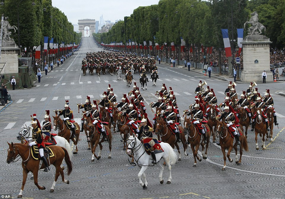 Among those taking part in the traditional Bastille Day parade was this mounted element of the Republican Guard in ceremonial uniform