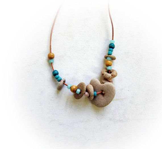 Natural drilled Heart Shaped beach stone pebble necklace - Beach Jewelry