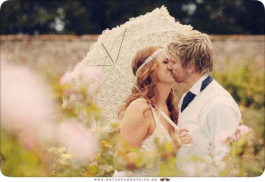 Bride and Groom Vintage Lace Umbrella, Shade, Glemham Hall Wedding Photography Suffolk - Hello Romance