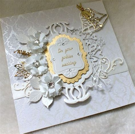 Luxury Handmade Golden Wedding Anniversary Card   Card