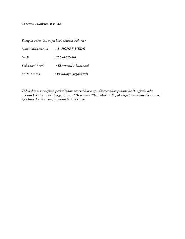Yang malas-malas masuk kuliah ini Contoh surat izin