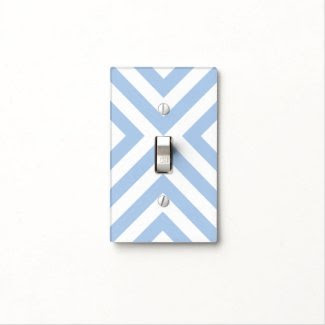 Light Blue and White Chevrons Light Switch Plates