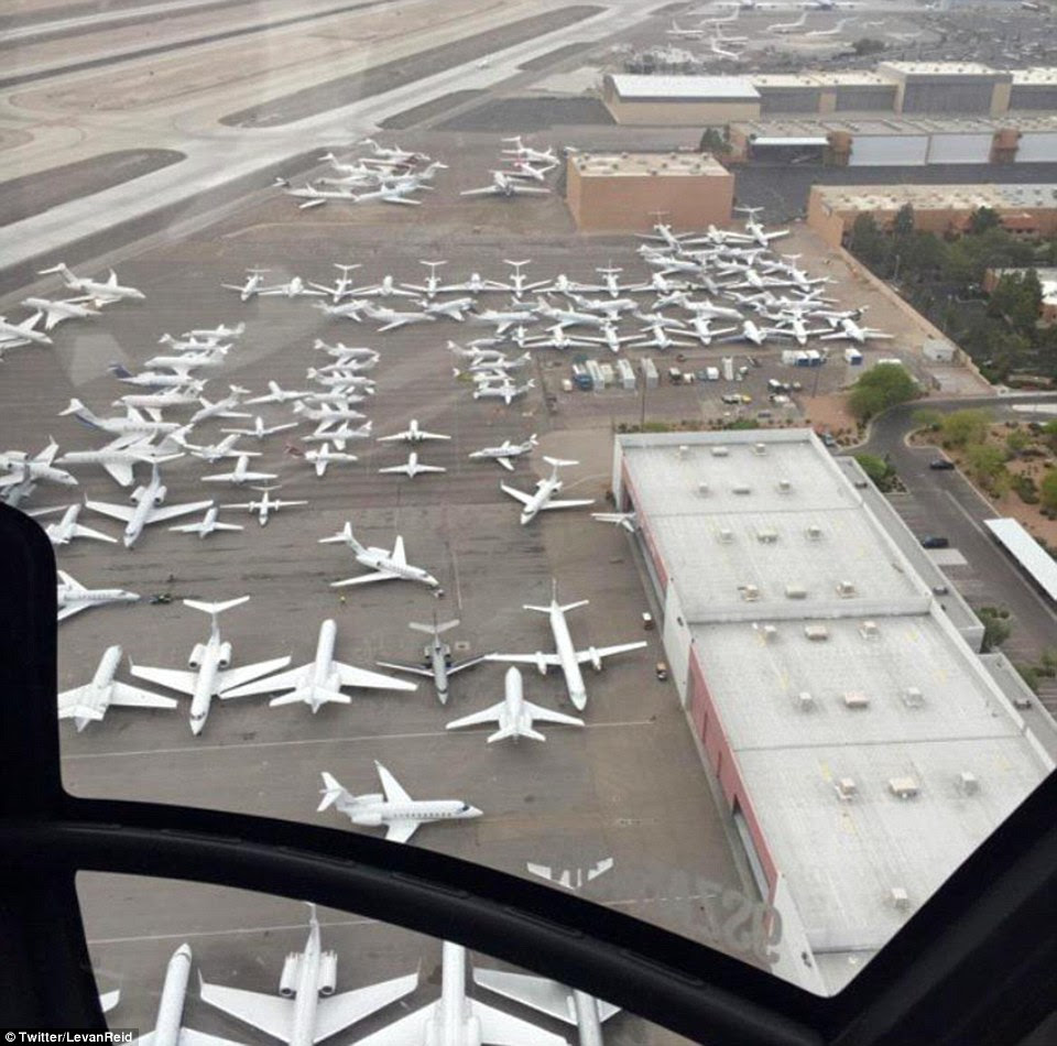 The private jet terminal at Las Vegas' McCarren International Airport was packed Saturday night right before the highly anticipated boxing match between Floyd Mayweather Jr and MannyPacquiao