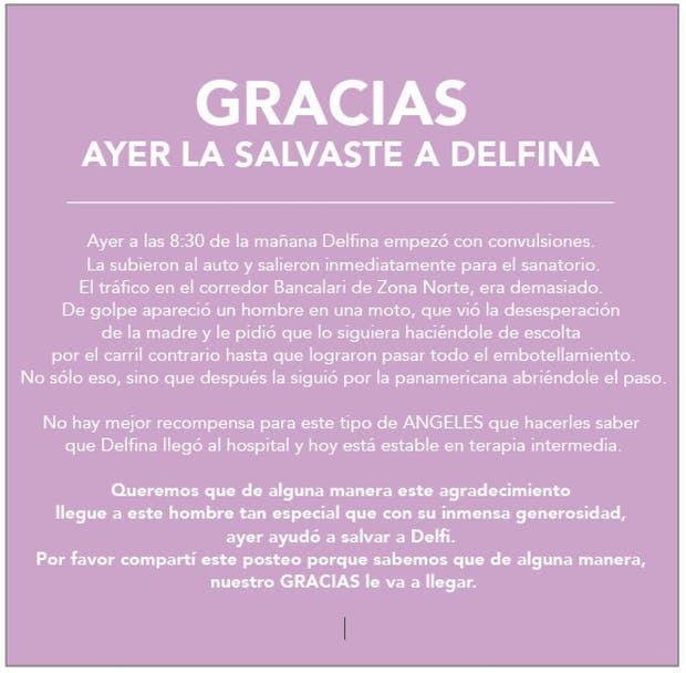 La carta de agradecimiento de Pilar al motoquero y