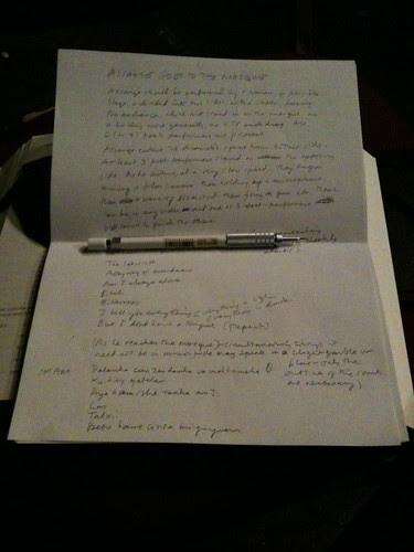 My playlet, handwritten