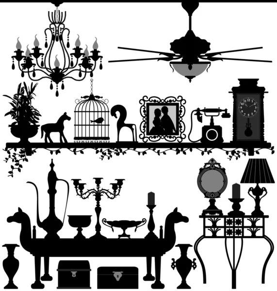 Home Decor Interior Design on Antique Home Decoration Furniture Interior Design     Stock Vector