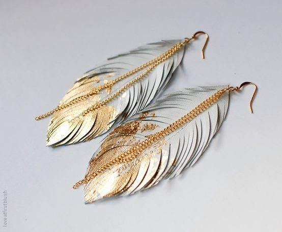 gold dipped feather earrings