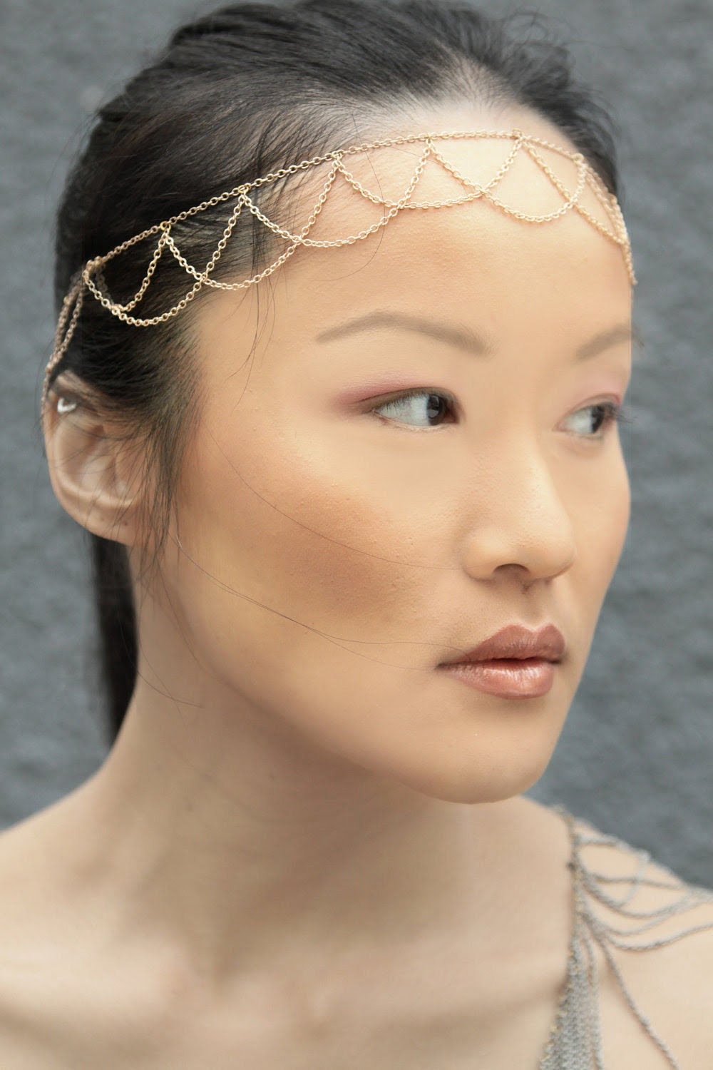 Brides Wave Headband -Rose Gold Plated Chain