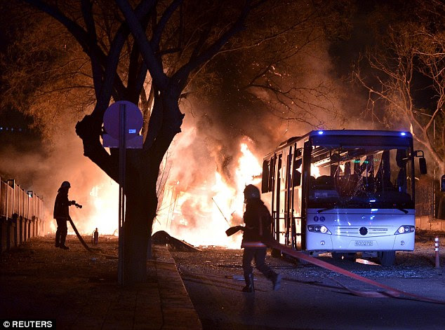 Horror: At least 18 people are dead and 45 others injured in an explosion believed to have been caused by a car bomb in the Turkish capital of Ankara