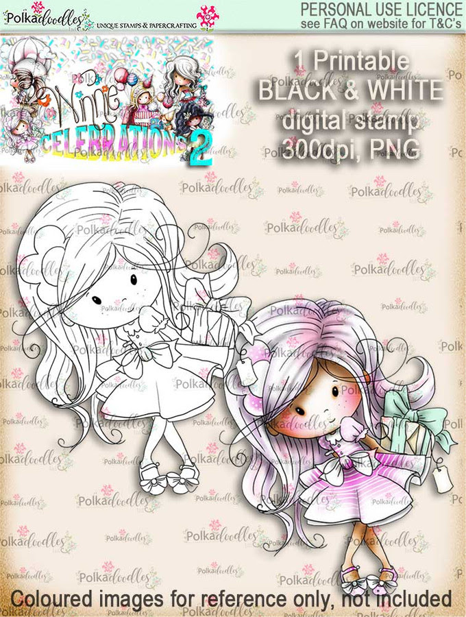 Winnie Celebrations 2...Surprise Gift  black/white digi stamp printable download