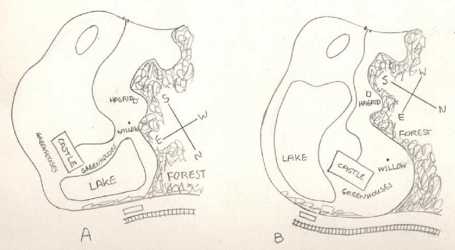 map of hogwarts grounds. two possible layouts for the Hogwarts grounds