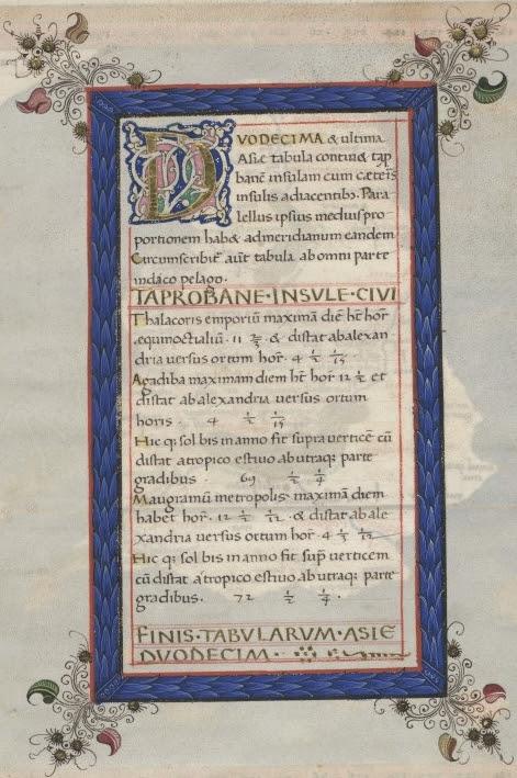 Ptolemy Cosmographia 1467 - Sri Lanka text