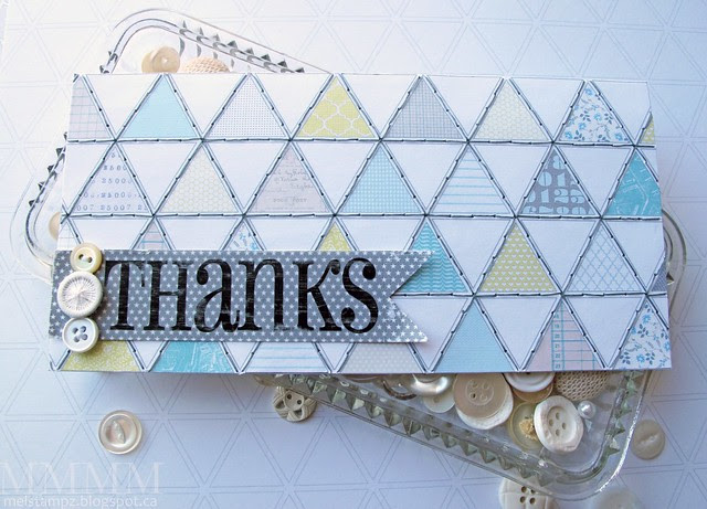 'Love Graphics' stitched Triangle paper card