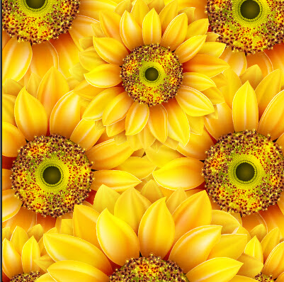 Realistic sunflowers vector seamless pattern 02 - Vector ...