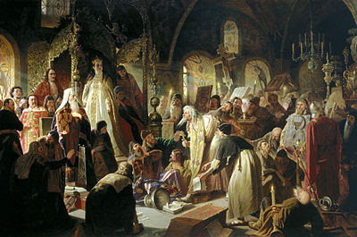 Old Believer Priest Nikita Pustosviat Disputing with Patriarch Joachim on Matters of Faith. Painting by Vasily Perov(1880). Behind - stand silver double throne.