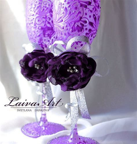 #eggplant #silver #purple #wedding #champagne #flutes
