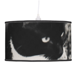 Freckles in Flowers II, Tuxedo Kitty Cat Hanging Lamp