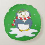 Adorable Christmas Penguin Round Pillow