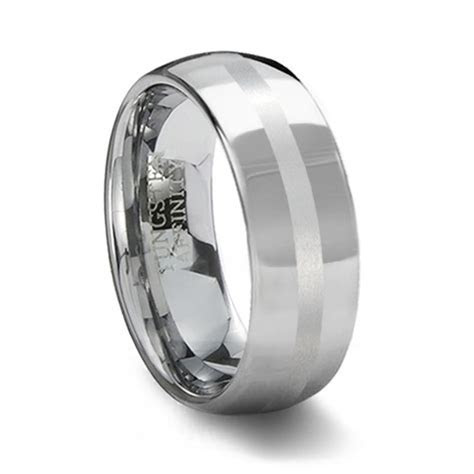 Polished Tungsten Ring with Brushed Center Design