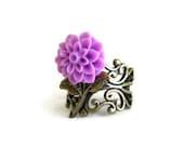 Purple mum flower ring - ArtsyLadyVintage