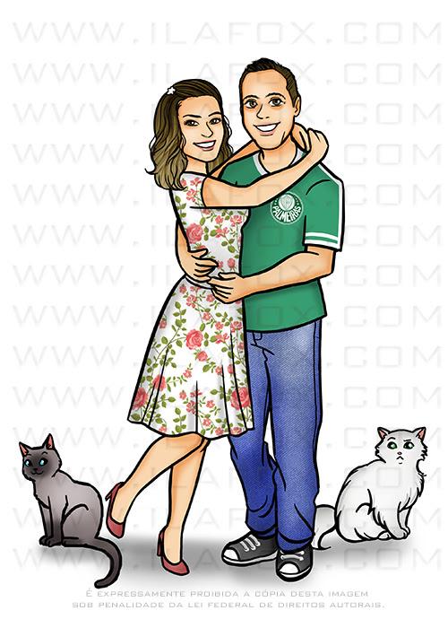 caricatura casal, caricatura desenho, caricatura com animais de estimação, caricatura divertida, caricatura família, caricatura palmeiras, caricatura time de futebol, ila fox