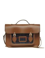 Zatchels Leather Satchel with Tartan Pocket
