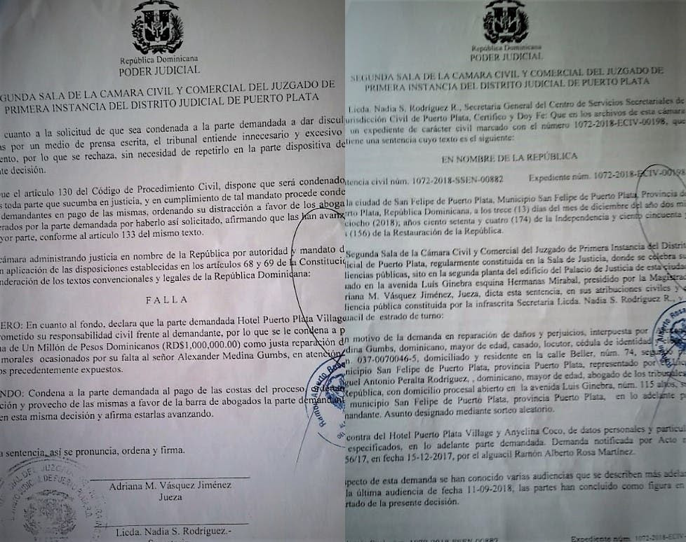 condenan-hotel-de-puerto-plata-a-pagar-un-millon-de-pesos-a-comunicador-tras-demanda-por-danos-y-perjuicios
