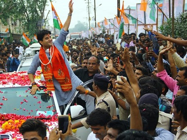 File photo of Jyotiraditya Scindia on the campaign trail. Twitter @JM_Scindia