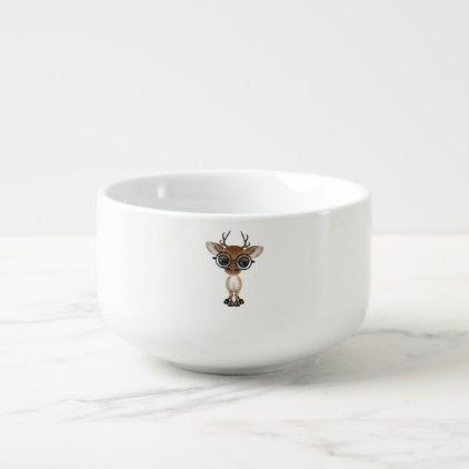 Nerdy Baby Deer Wearing Glasses Soup Mug