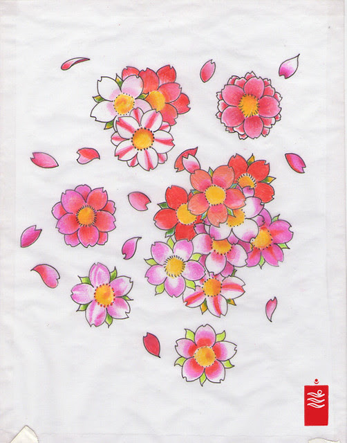 cherry blossoms, sakura tattoo flash, feel free to use!
