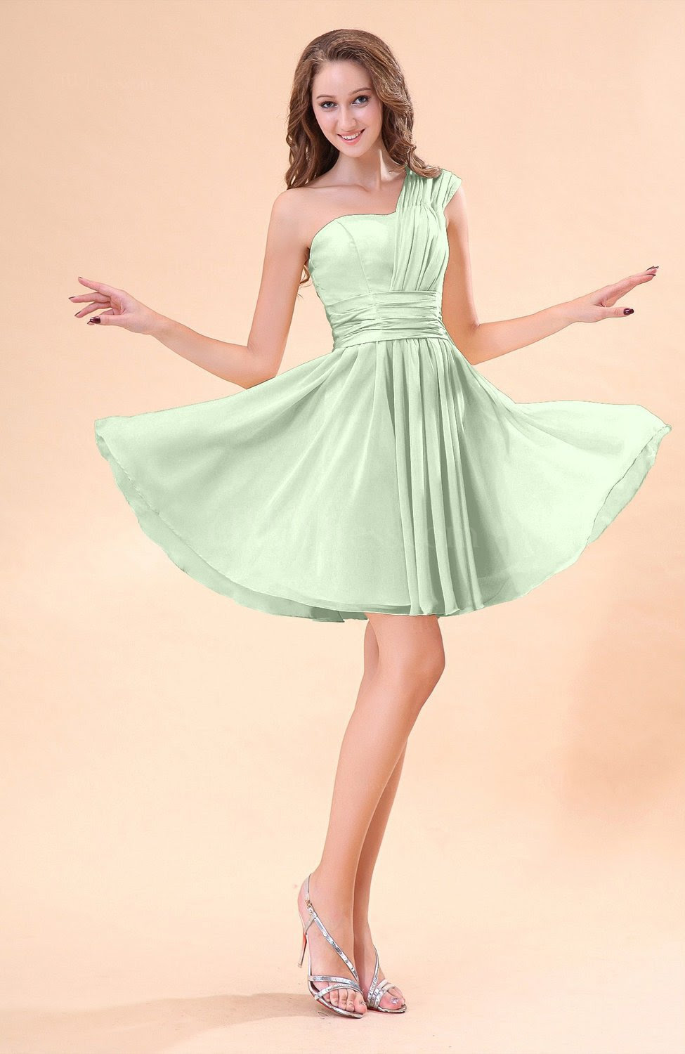 light green cute aline sleeveless mini ruching wedding