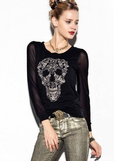 Black Long Sleeve Skull Cool Embroidered T-Shirt pictures
