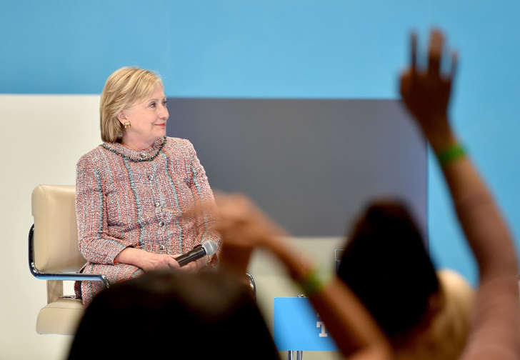 Hillary Clinton speaks onstage as Beautycon Media curates the first digital content creator town hall with Hillary Clinton at NeueHouse Los Angeles on June 28, 2016 in Hollywood, California.